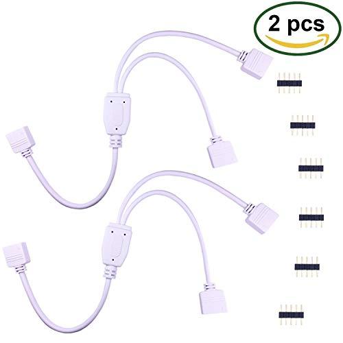 RGB LED Streifen Verteiler Kabel RGBW Verbinder 5 polig LED Stripe 4 polig LED Verbindungskabel DC Jack Buchse Stecker Anschlusskabel LED Strip Eckverbinder LED Band Schnellverbinder, Schwarz, Weiß