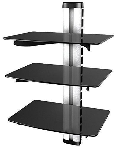 RICOO Wandregal TV Rack Wandhalterung DVD Design Halterung | DVD3 | Glasregal Glas Regal HiFi Wandboard Player Receiver Wandhalter | inkl. Alu Kabelkanal | Sicherheitsglas |