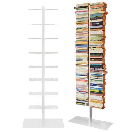 Radius - Bücherregal - booksbaum double stand gross weiß, 3tlg. best.aus: Halterung + Fuß + Einlegeböden