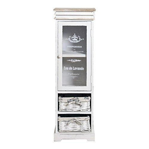 Rebecca Mobili weiße Glasvitrine, Standvitrine 1 Tür 2 Weidenkörbe, Holz, im Shabby-Stil, als Wohneinrichtung Haus Bad Eingang – Maße: 104 x 33 x 29 cm (HxLxB) – Art. RE4486
