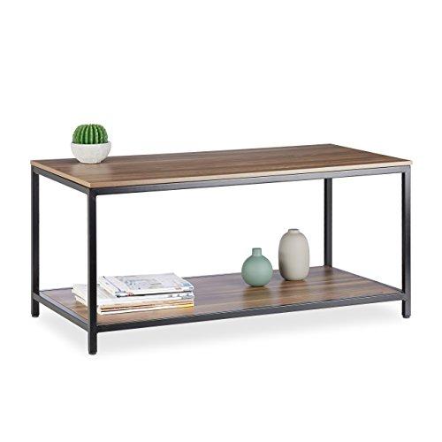 Relaxdays Couchtisch 2 Ablagen, niedrig, Tischplatte aus Melamin, Metallgestell, HBT 46x100x50cm, schwarz/braun Schwarz/Braun