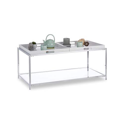 Relaxdays Couchtisch, Flacher Wohnzimmertisch mit 2 Tabletts, eckiger Beistelltisch, HBT 43 x 95 x 49 cm, weiß/Silber