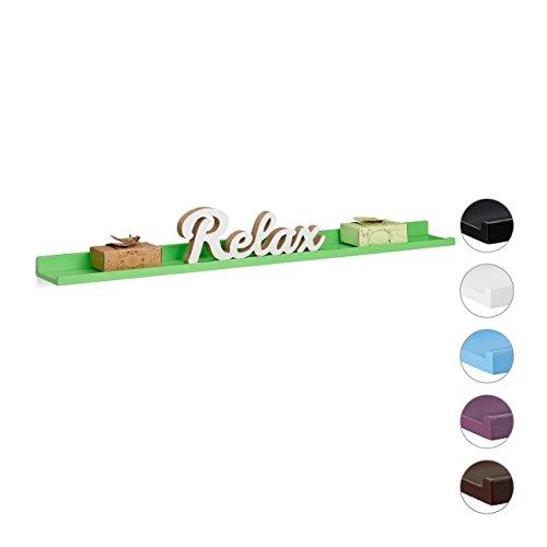 Relaxdays Hängeregal schmal, Schweberegal Holz, Wandboard schwebend, MDF, HxBxT: 3,5 x 80 x 10 cm, verschiedene Farben