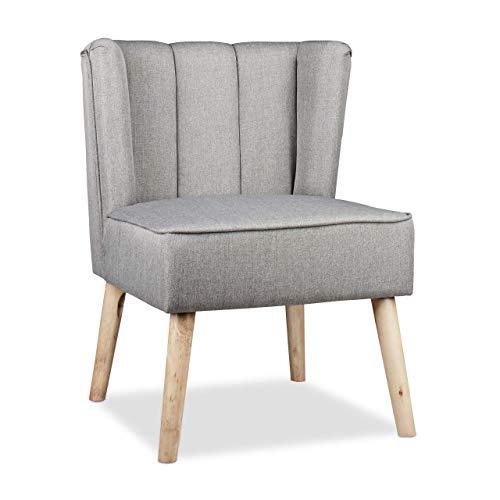 Relaxdays Ohrensessel Retro, skandinavisches Design, Weicher Stoff, Bequemer Relaxsessel, HxBxT: 80 x 55 x 60 cm, Grau