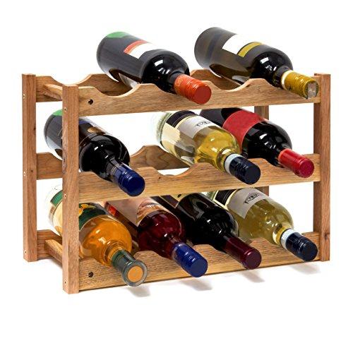Relaxdays Weinregal klein, Flaschenregal mit 3 Ebenen für 12 Flaschen Wein, H x B x T: 28 x 42,5 x 21 cm, natürlich, Holz, Natur 42 x 21 x 28 cm