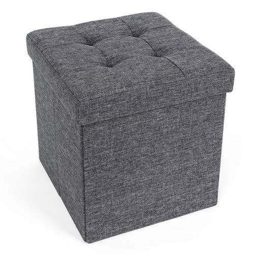 SONGMICS Sitzbank Sitzhocker mit Stauraum faltbar Sitzwürfel Fußablage leinen 38 x 38 x 38 cm
