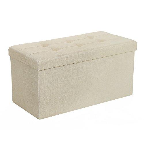 SONGMICS Sitzhocker Sitzbank 80 L faltbar Sitztruhe belastbar bis 300 kg 76 x 38 x 38 cm