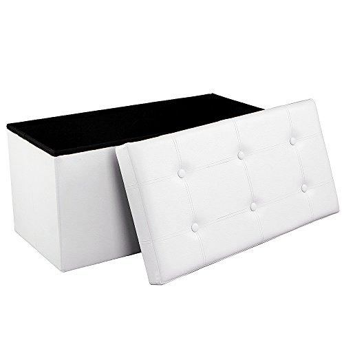 SONGMICS Sitzhocker Sitzbank mit Stauraum faltbar 2-Sitzer belastbar bis 300 kg Kunstleder 76 x 38 x 38 cm