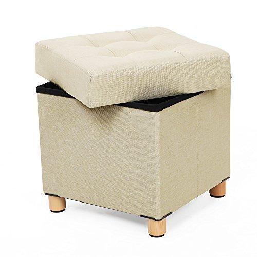 SONGMICS Sitztruhe Sitzhocker Fußhocker mit Stauraum und Deckel mit Holzfüßen
