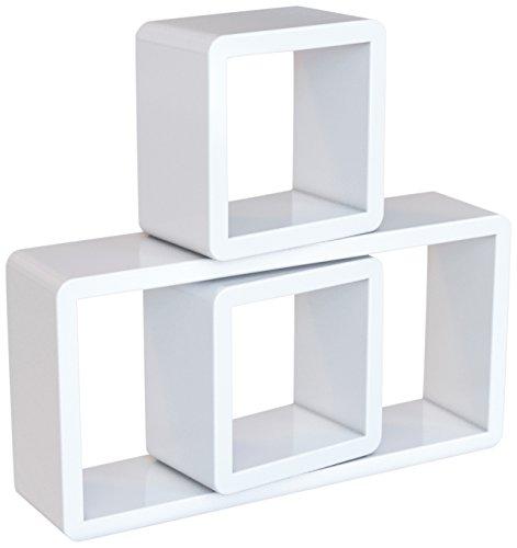 SONGMICS Wandregal Würfelregale 3er Set Cube Regal BücherRegal Belastbarkeit 15 kg, Weiß LWS102