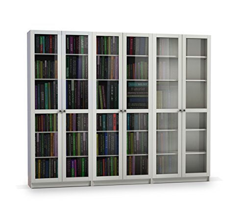 Steens Anette Bücherwand, mit 6 Glastüren, 240 x 200 x 27 cm (B/H/T), MDF, Weiß