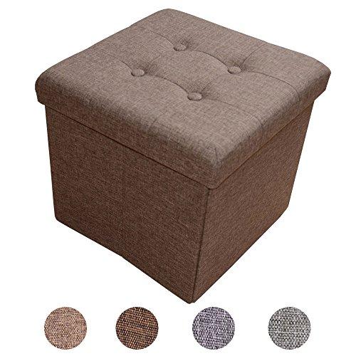 Stylehome® Sitzbank Sitzhocker Aufbewahrungsbox mit Stauraum faltbar belastbar bis 300 kg Leinen 38 x 38 x 38 cm