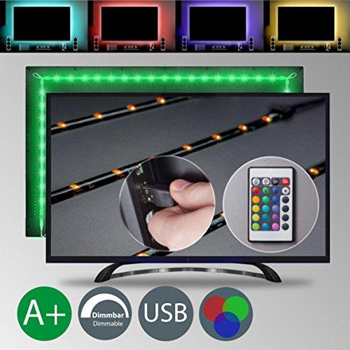 TV LED Beleuchtung - LED Stripe - LED Band Dimmbar Selbstklebend 2m 48x RGB USB Fernbedienung IP20 TV Hintergrundbeleuchtung Lichterkette Lichtleiste Bänder Farbband Lichtmodi Farbwechsel Effekte