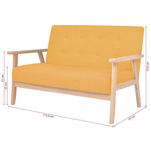 Tidyard Sofa 2-Sitzer Couches im Skandinavischen Stil, Modernes 2-Sitzer, Holzrahmen und Stoff, Gelb/Blau Optional, 113,5 x 67 x 73,5 cm (B x T x H)