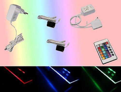 Trango 2er Set TG5022-02 RGB Farbwechsel LED Glaskantenbeleuchtung I Schrankbeleuchtung I Glasbodenbeleuchtung I Vitrinenbeleuchtung Clip I Möbelbeleuchtung I Vitrine Beleuchtung