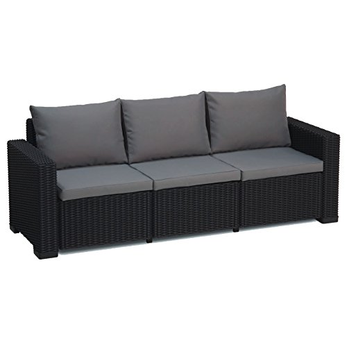 Transcontinental Group Allibert California Graphit grau 3-Sitzer Rattan Outdoor Garden Patio Sofa mit Kissen