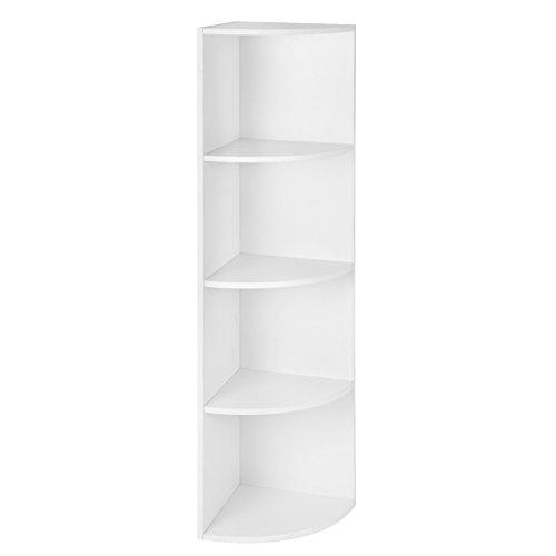 VASAGLE 4 Ebenen Eckregal, Standregal, Bücherregal aus Holz, für Küche, Schlafzimmer, Wohnzimmer, Büro