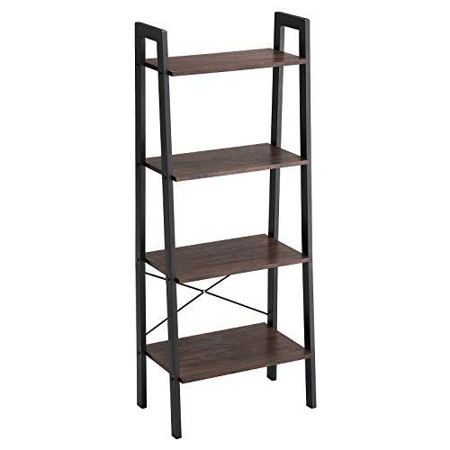 VASAGLE Standregal im Industrie-Design, Bücherregale, 4 Ebenen Leiter Regal