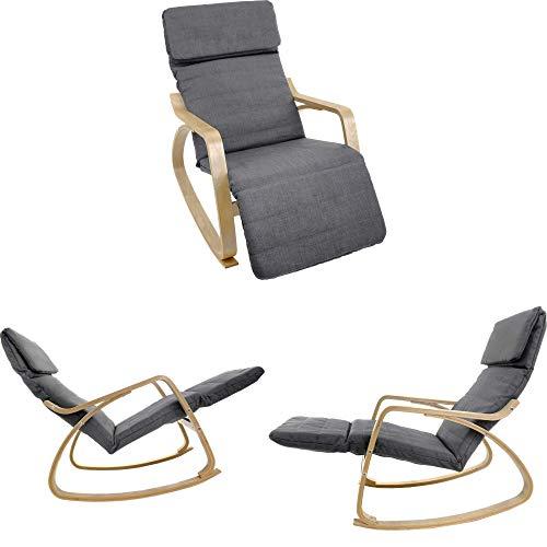 VECOTTI Schaukelstuhl, Relaxstuhl mit Verstellbarer Fußstütze, Schaukelsessel für Wohnzimmer, Terrasse, Balkon, einfache Montage