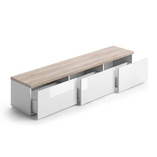 Vicco Lowboard PANARAI Fernsehschrank Weiß Sideboard TV Regal Fernsehtisch