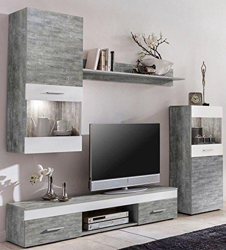 WILMES Easy Wohnwand Holzwerkstoff Weiß 33x210x160 cm