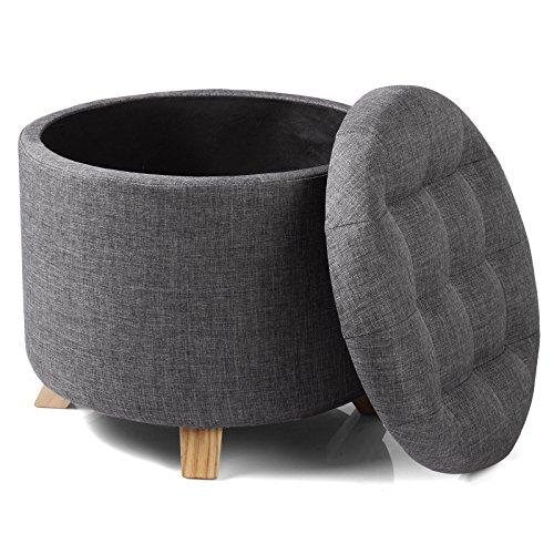 WOLTU #838 Sitzhocker mit Stauraum Fußhocker Aufbewahrungsbox, Deckel Abnehmbar, Gepolsterte Sitzfläche aus Leinen, Massivholz, 44x41CM