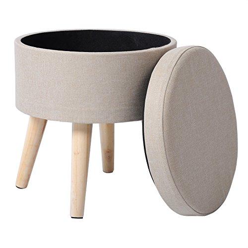 WOLTU SH08serie2 Sitzhocker mit Stauraum Fußhocker Aufbewahrungsbox, Deckel Abnehmbar, Gepolsterte Sitzfläche aus Leinen, Massivholz