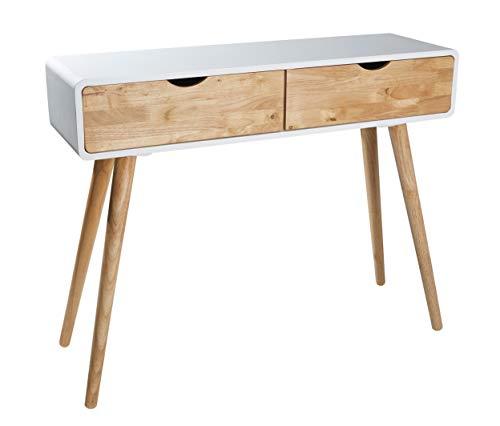 Wholesaler GmbH Weißer Konsolentisch aus Holz mit Zwei Schubladen im skandinavischen Look 100 x 30 x 80 cm - Natur Kommode Anrichte Sideboard Wandtisch Retro Neu