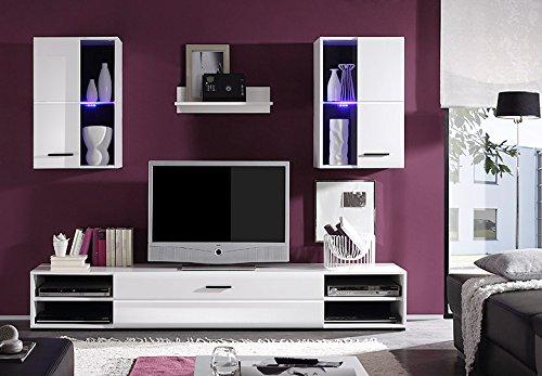 Wohnwand Final Lux Wohnzimmer Anbauwand in weiß Vitrinen mit Glaselementen und LED