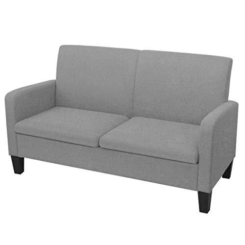 XINGLIEU 2-Sitzer Sofa aus Stoff + Schaumstoff + Kiefernholz, 135 x 65 x 76 cm, Hellgrau