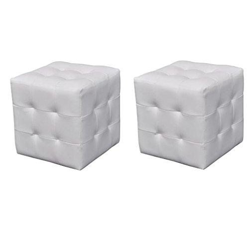 XINGLIEU Polsterhocker 2er Set Lederhocker 30 x 30 x 30 cm Sitzwürfel Weiß Nachttisch