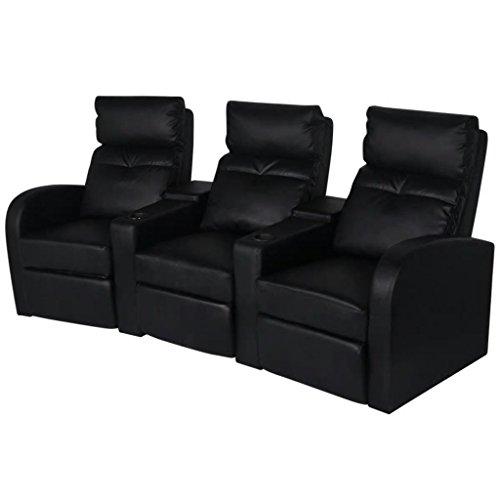 XINGLIEU Ruhesessel Verstellbar Relaxcouch 3-Sitzer Kunstleder Relaxsofa Schwarz 227 x 85 x 103 cm