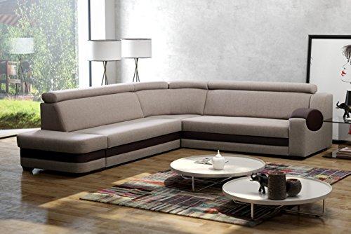 große Ecksofa Sofa Eckcouch Couch mit Schlaffunktion und Bettkasten mit Hocker Ottomane L-Form Schlafsofa Bettsofa Polstergarnitur Wohnlandschaft - Denver