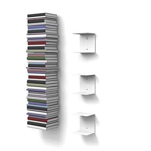 home3000 3 weisse unsichtbare Bücherregale mit 6 Fächern bis zu 150 cm hohen Bücherstapel für Bücher bis zu 22 cm Tiefe.