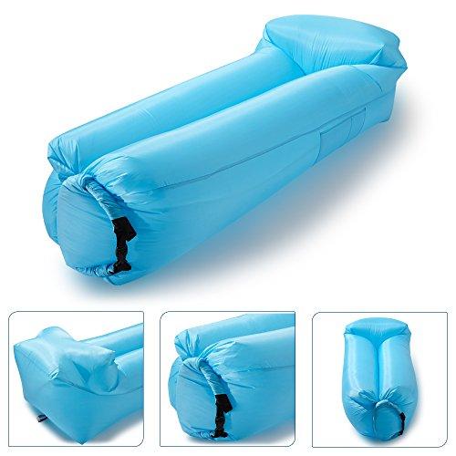 icefox Wasserdichtes Luftsofa, Transportabler Air Lounger mit Tragebeutel, Zum Schlafen im Freien, im Innenbereich, Aufblasbarer Sitzsack (Blau)