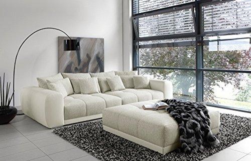lifestyle4living Big Sofa in weiß/grau mit Steppungen im Sitzelement, 4 große Rückenkissen, 4 mittlere und 4 kleine Zierkissen, Maße: B/H/T ca. 306/83/134 cm