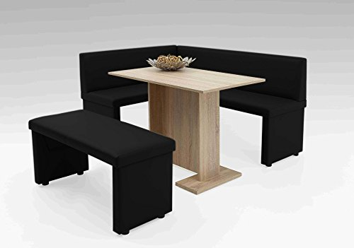 lifestyle4living Eckbank, Sitzbank, Küchenbank, schwarz, Kunstleder, Schenkelmaß Lange Seite: 168 cm, Schenkelmaß Kurze Seite: 128 cm