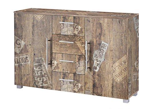 lifestyle4living Kommode, Anrichte, Sideboard, Schubkastenkommode, Schubladenkommode Panamaeiche, Vitage, B/H/T ca. 127/83/35 cm