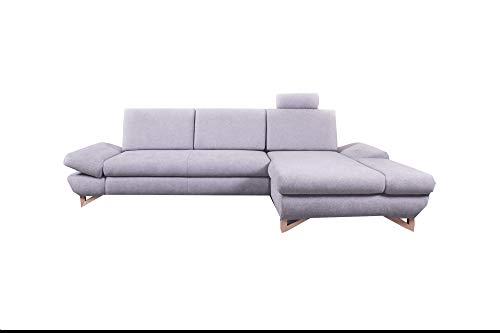 mb-moebel Ecksofa Eckcouch mit Bettkästen mit Schlaffunktion Soft Couch Wohnlandschaft L-Form Polsterecke Merida GRAU