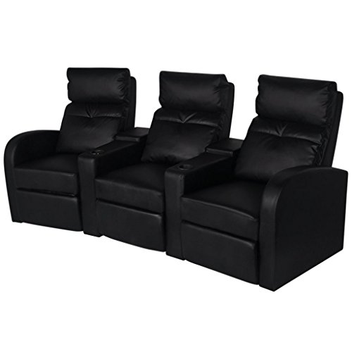 vidaXL Fernsehsessel Kinosessel Relaxsessel Heimkino Liege Sofa 3-Sitzer weiß/schwarz