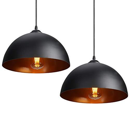 CCLIFE 2er Industrielle Pendelleuchte Hängeleuchte Metall Schwarz/Weiß