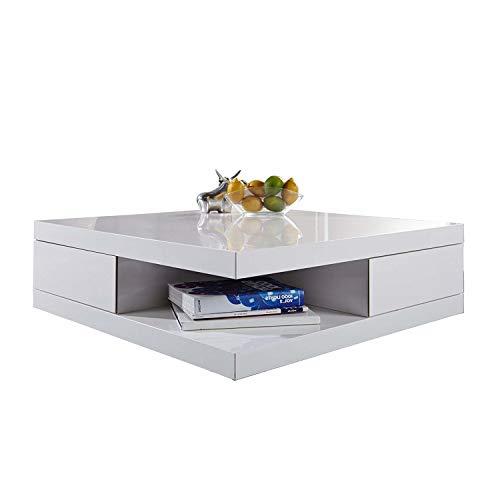 DuNord Design Couchtisch weiß Hochglanz 70cm Sofatisch mit Schubladen