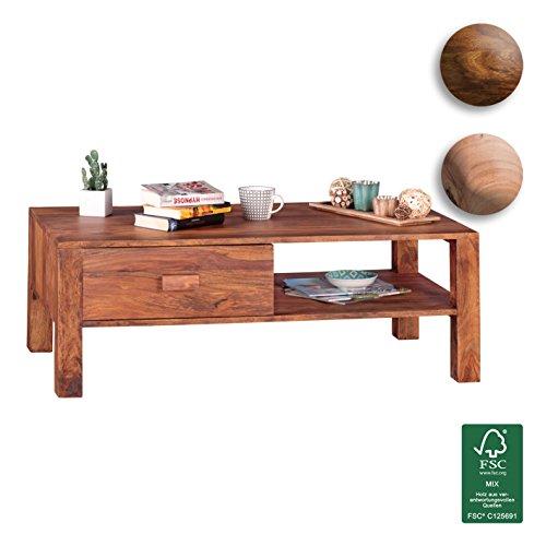 FineBuy Couchtisch Massivholz Sheesham Design Wohnzimmer-Tisch 110 x 60 cm 1 Schublade Landhaus-Stil Holztisch rechteckig Natur-Produkt Massiv-Holz-Tisch Wohnzimmer-Möbel mit Funktion und Stauraum
