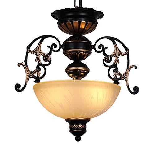Hängelampe Flurlampe Esstisch Vintage Design Rund LED Deckenlampe Pendelleuchte Retro Antik Glas-Schirm Eisen Art Flur Badlampe Deko Deckenleuchte Kronleuchter mit 3xE27 Sockel für Küche Bar Lampen