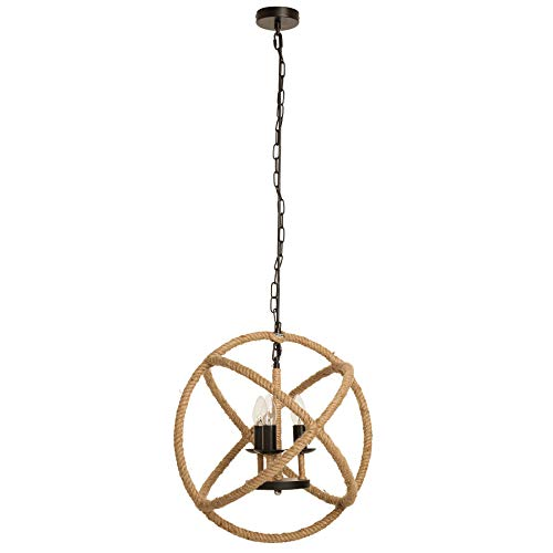 Invicta Interior Maritimer Kronleuchter Seven SEAS 45cm Natur Tau Seil Lampe Tauleuchte Deckenlampe Pendelleuchte