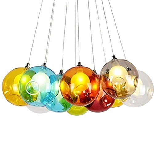 KJLARS Modern Pendelleuchte Kreativ Pendellampe Bunte Glas Hängeleuchte mit für Kinderzimmer Wohnzimmer, Inklusiv Glühbirne