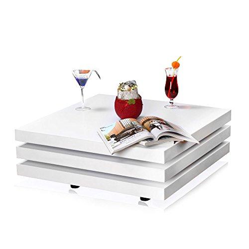 Melko Couchtisch Wohnzimmertisch weiß, 80x80x33,5 cm, Beistelltisch Designertisch Holz