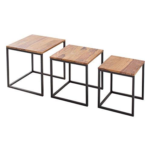 Riess Ambiente Beistelltisch 3er Set Fusion Sheesham Metall schwarz Satztische Tischset Couchtische Beistelltische Wohnzimmertische