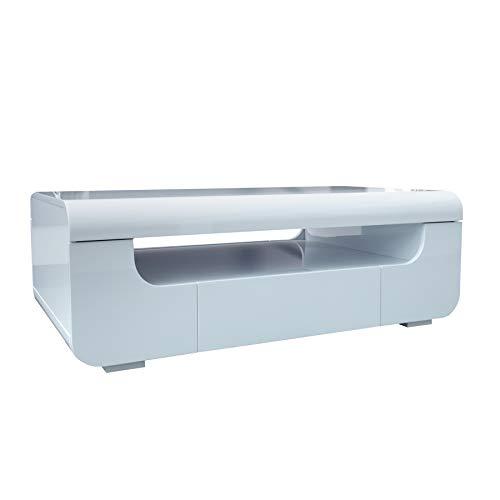 Riess Ambiente Moderner Couchtisch Cube AMBIENCE Hochglanz weiß mit LED Beleuchtung Tisch Wohnzimmertisch Farbwechsel