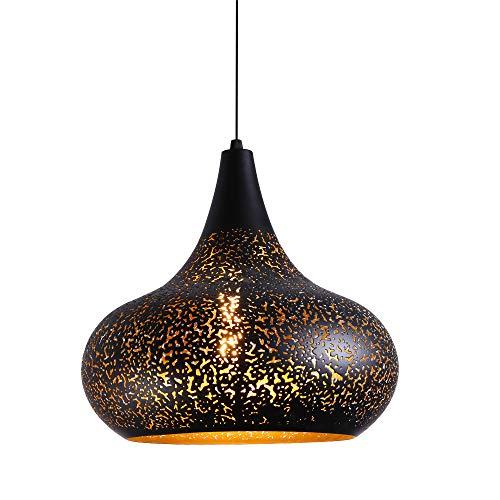 Themenrestaurant Pendelleuchte Vintage Schwarz Industrie Modern Simple Pendellampe Hohle Metall Lampenschirm Retro Hängellampe für Wohnzimmer Schlafzimmer Küche Restaurant